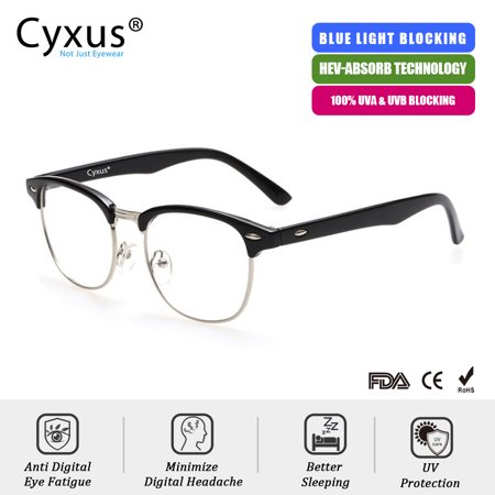 Cyxus Blue Light Blocking Computer Glasses Anti Eyestrain Headaches UV, Semi-Rimless Black Frame Unisex(Men/Women)