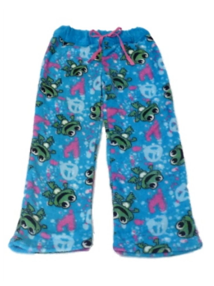 Jellifish Girls Blue Fleece Frog Sleep Pants Holiday Pajama Bottoms Lounge 4-5