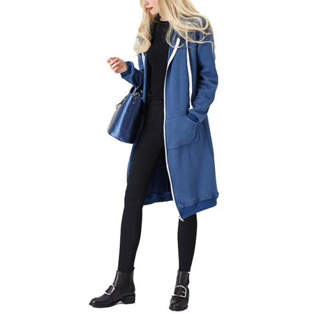 Women Winter Long Sleeve Zip Up Hooded Hoodie Jacket Jumper Loose Oversized Cardigan Coat Outwear Overcoat Plus Size S-5XL Sleeve Zip Cardigan