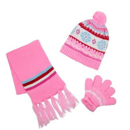 CTM  Kids Knit Winter Pattern Hat Scarf and Gloves on a ...