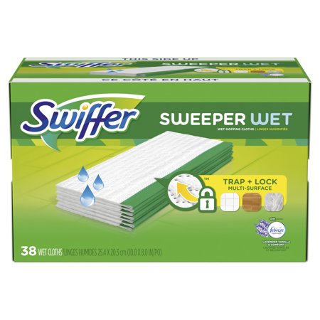 Swiffer Sweeper, Wet Mopping Pad Multi Surface Refills for Floor Mop, Lavender & Vanilla Comfort, 38 count 20' Blue Cleaner Floor Pads