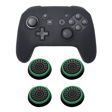 Nintendo Switch Pro Case Bundle Kit, by Insten Black Controller Grip Soft Silicone Skin Case + 4-pack Analog Thumbstick Cap Black/Green for Nintendo Switch Pro (Soft Silicon Skin)