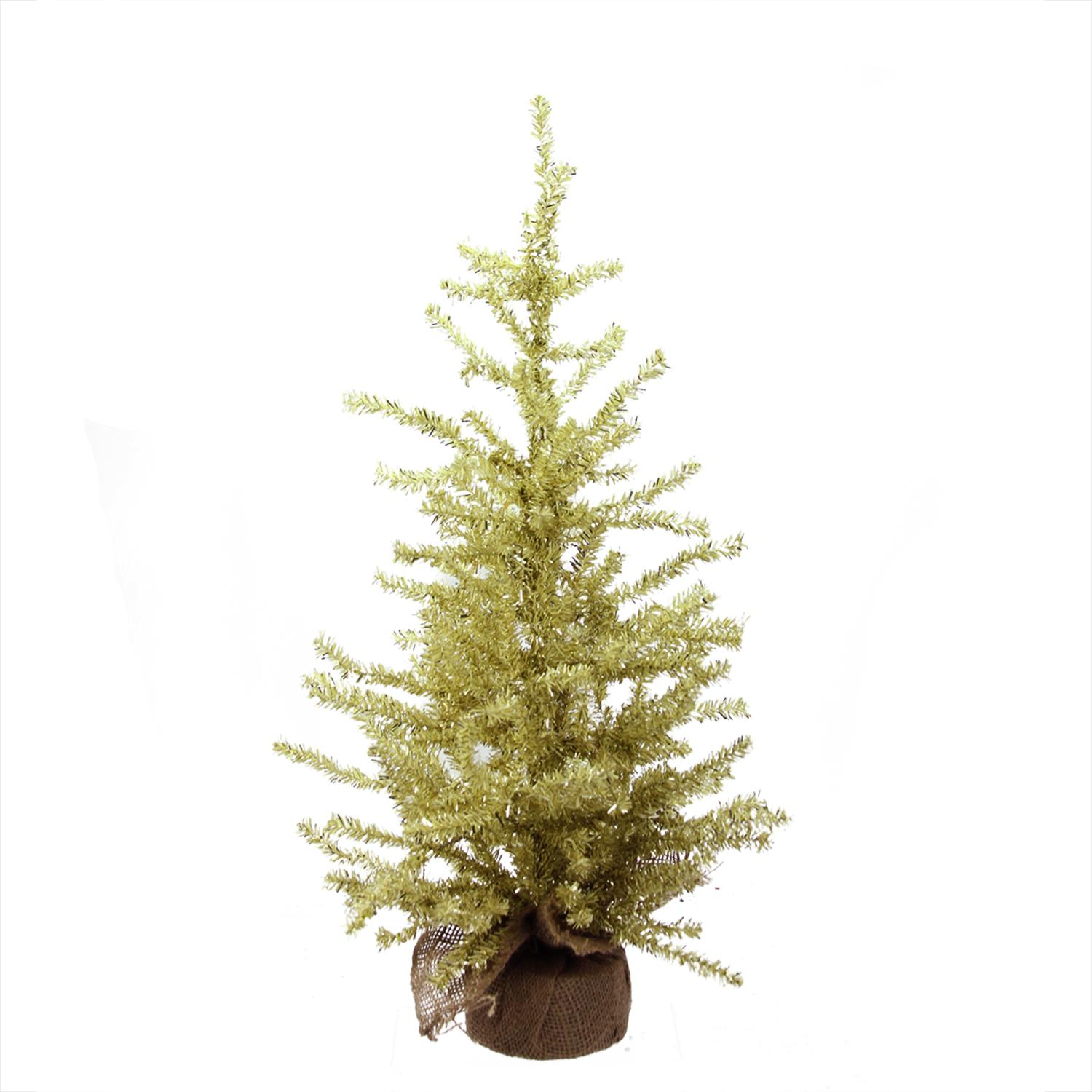 "2' x 12"" Champagne Gold Tinsel Artificial Christmas Tree in Burlap Base - Unlit"