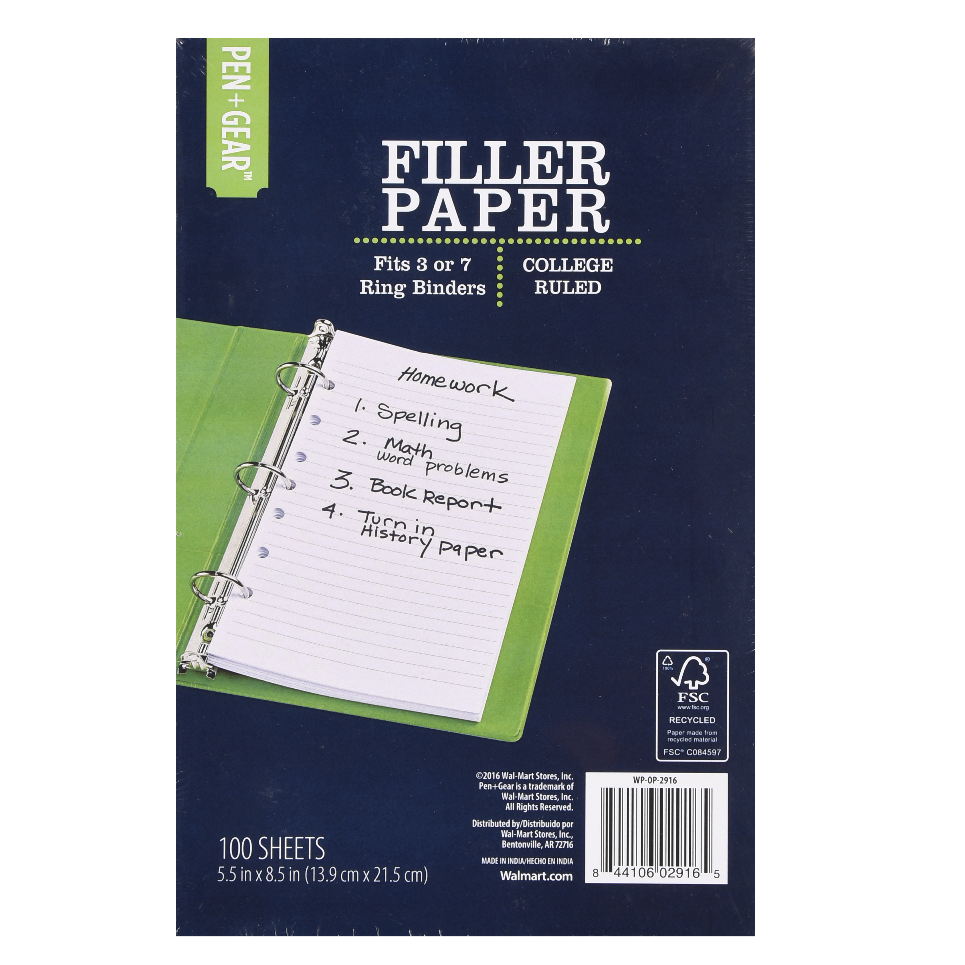 "Pen+Gear Filler Paper, 5.5"" X 8.5"", 100 Sheets"