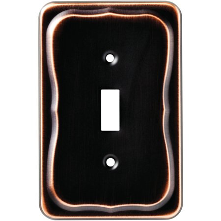Renaissance Dark Bronze Wall - Brainerd Tenley Single Switch Wall Plate, Bronze
