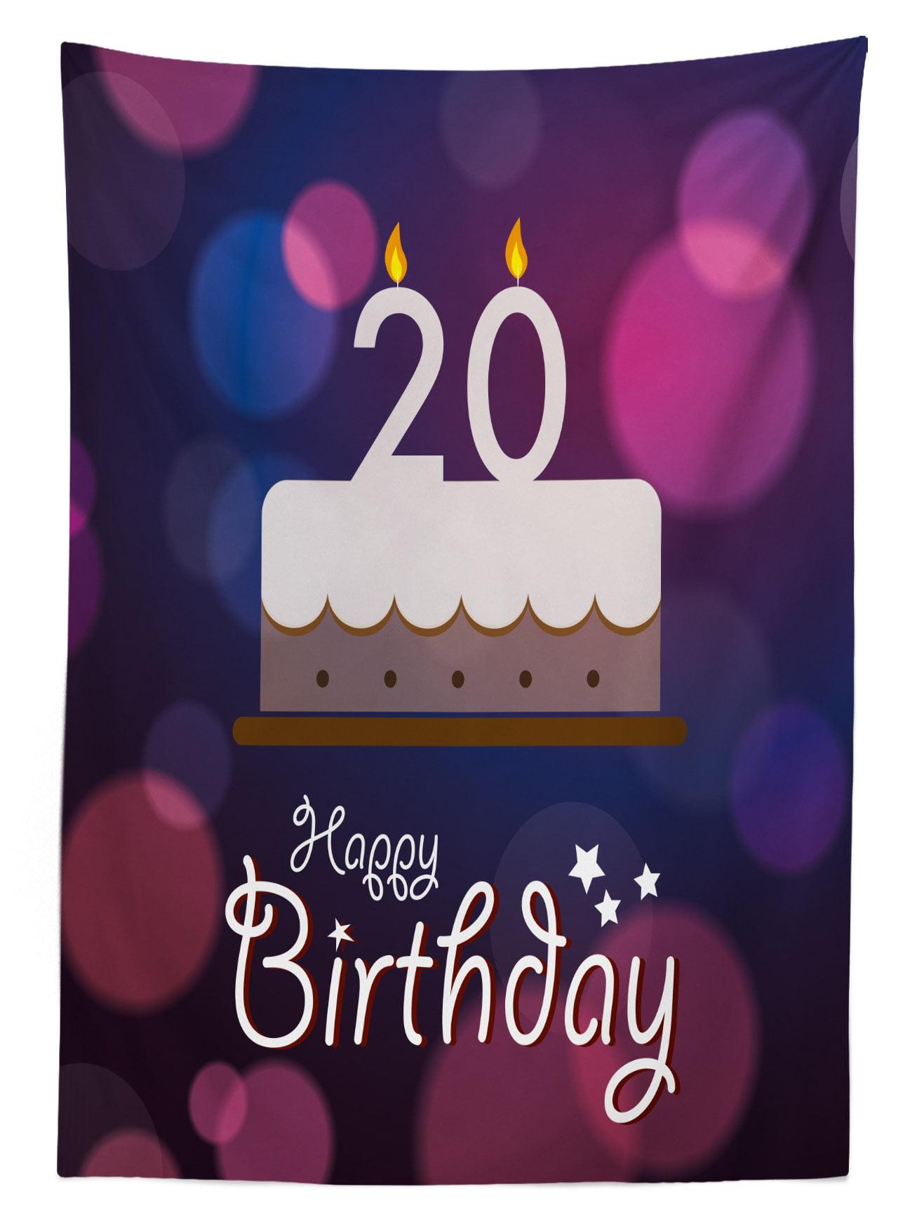 20th Birthday Decorations Tablecloth Twenty Birthday Cake Cartoon