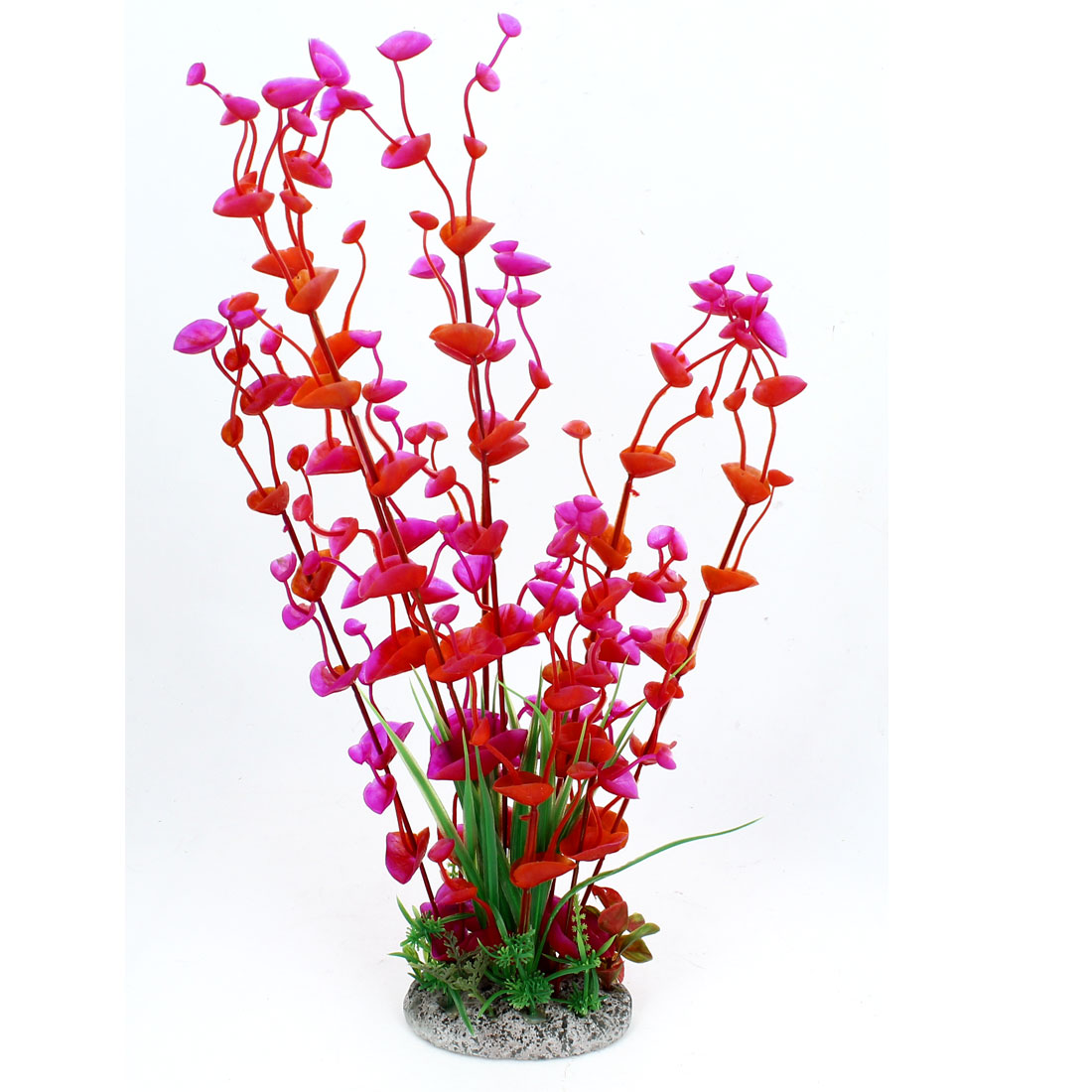 "Fish Tank Aquarium Ornament Plastic Artificial Water Plant Red Fuchsia 16"" High"