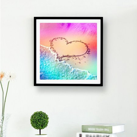 Sweetsmile 3D DIY Diamond Painting Cross Stitch Embroidery Craft Kit Home Decor Peacock/Heart Mosaic Pattern 30*30CM/25*30CM - Cross Stitch Heart Pattern