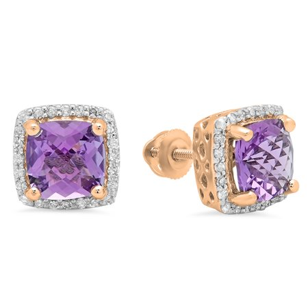 18k Rose Gold Square (Dazzlingrock Collection 18K 7 MM Each Cushion Amethyst & Round Diamond Ladies Square Frame Halo Stud Earrings, Rose Gold)