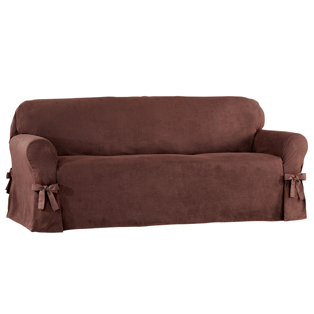Faux Suede Slipcover With Custom Fit Ties Furniture Cover
