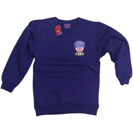 FDNY Sweatshirt Mens Crewneck Shirt Navy Blue Fireman Gift (2XL) Navy Blue Crewneck Sweatshirt