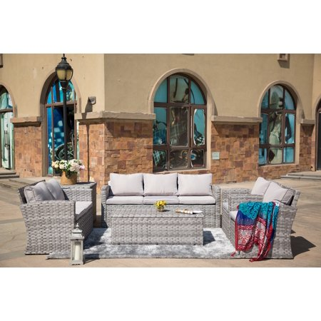 Burrus 6-Piece Outdoor Patio Furniture Conversation Set Garden Rattan Wicker Sofa Dining Set with Table and Luxury Cushions-Grey ()