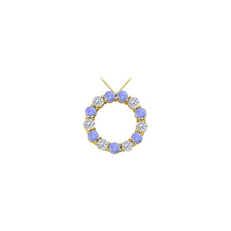 2 Carat Diamond and Tanzanite Eternity Circle Necklace in 14K Yellow Gold - image 1 of 5