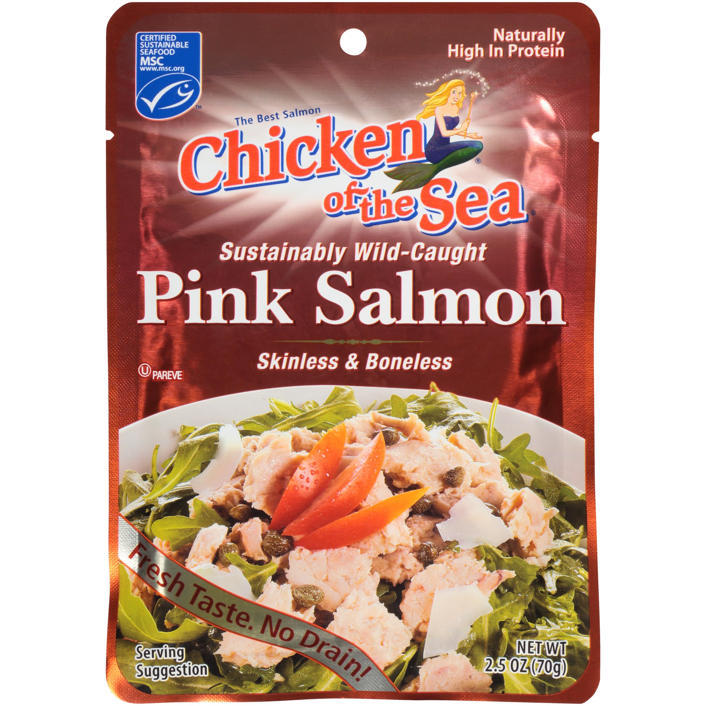 Chicken of The Sea Skinless Boneless Wild Pink Salmon, 2.5 oz Pouch