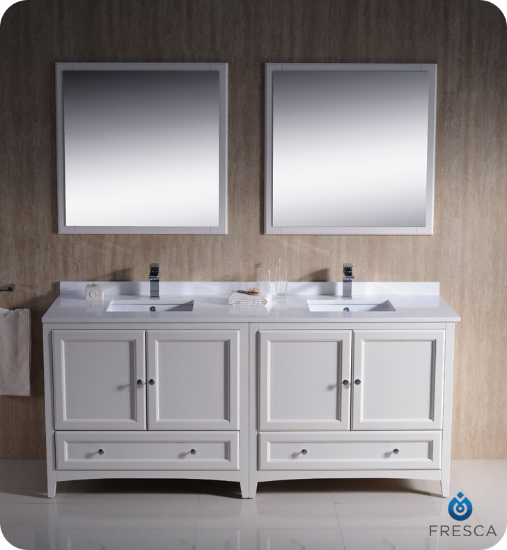 "Fresca FVN20-3636 Oxford 71"" Free Standing Double Vanity Set with MDF Cabinet, Q"