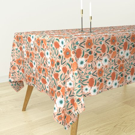 Tablecloth Poppy Flowers Blush Floral Ladybug Summer Retro Mod Cotton Sateen