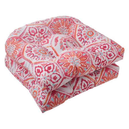 Flame Seat (Pillow Perfect Outdoor/ Indoor Summer Breeze Flame Wicker Seat Cushion (Set of 2) )