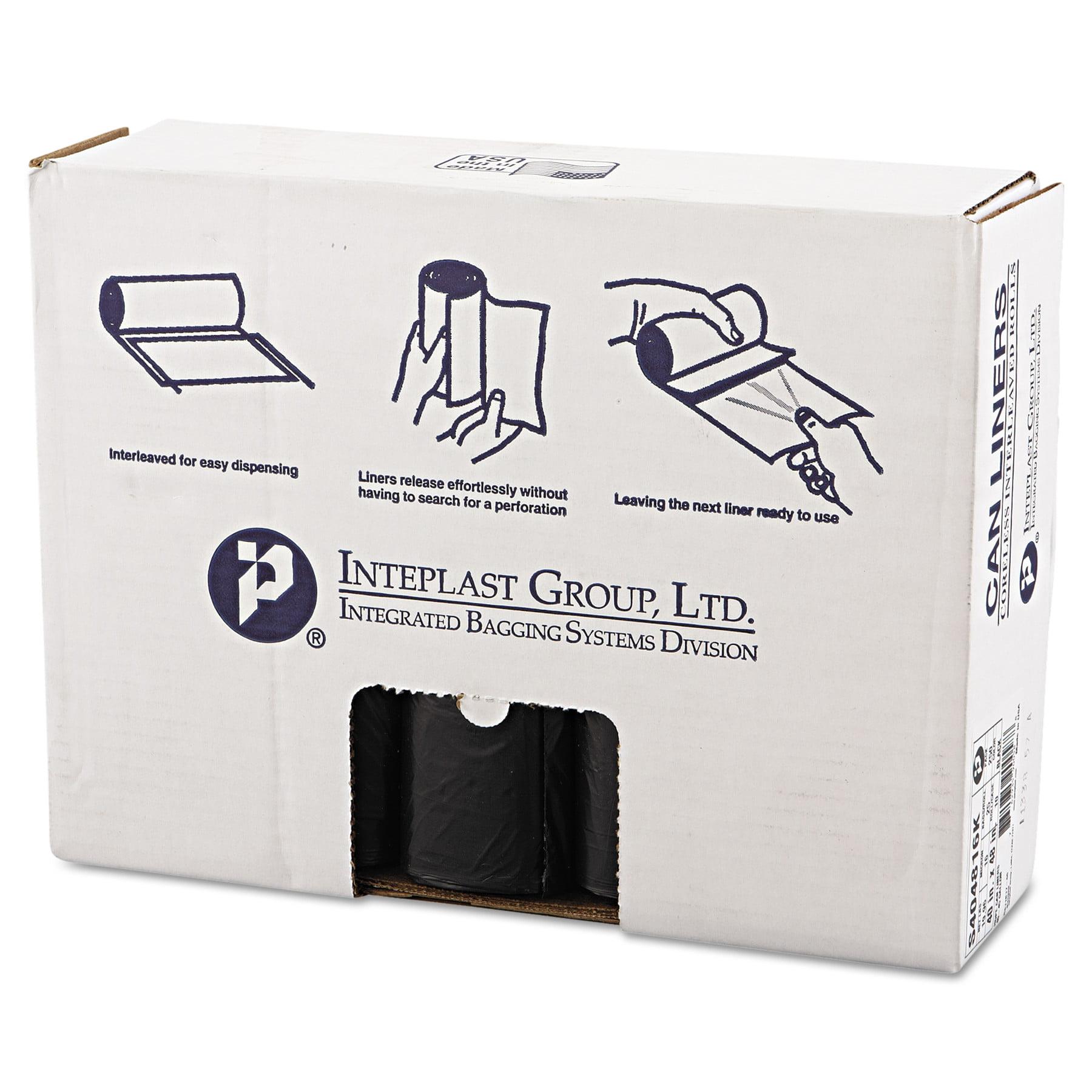 Inteplast Group High-Density Trash Bag, 40 x 48, 45gal, 16mic, Black, 25/Roll, 10 Rolls/Carton