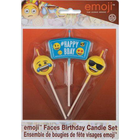 3 Pack Emoji Birthday Candles 3pc