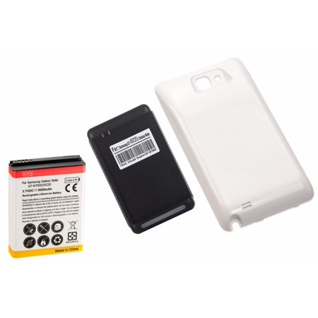 High Capacity Battery Door - 5000mAh High Capacity Battery + White Door + Charger for Samsung Galaxy Note 1