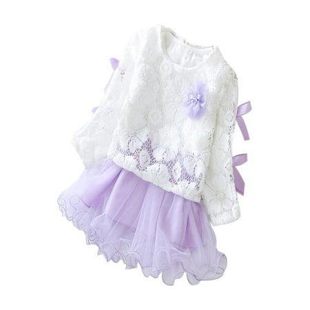 70ec72c17090 OkrayDirect Autumn Infant Baby Kids Girls Party Lace Tutu Princess Dress  Clothes Outfits - Walmart.com