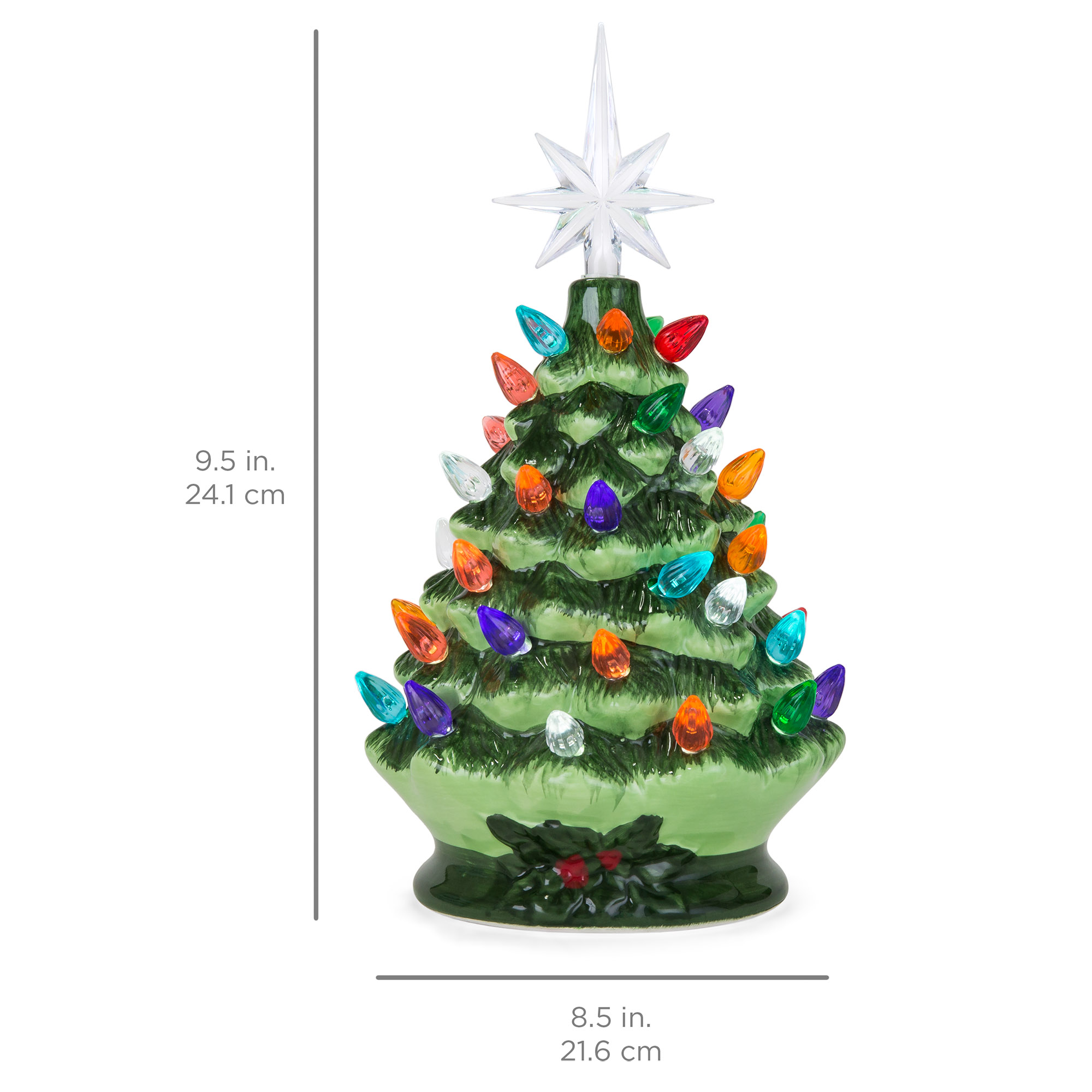 Best Choice Products 9 5in Pre Lit Hand Painted Ceramic Tabletop Artificial Christmas Tree Festive Holiday Decor W Multicolored Lights 3 Star