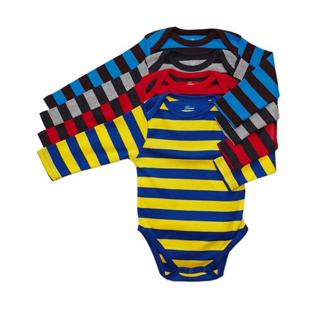 Leveret 4 Pack Long Sleeve Bodysuit 100% Cotton Stripes Boy 12-18 Months Multi