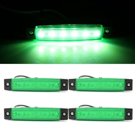 - 4Pcs 6 LED Green Side Marker Indicators Lights Lamp 12V for Truck Trailer