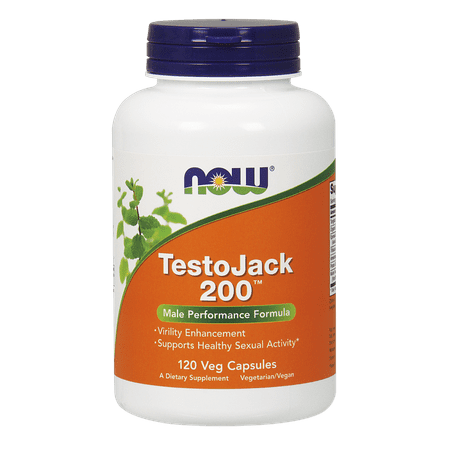 NOW TestoJack 200 Vegetable Capsules, 120 Ct