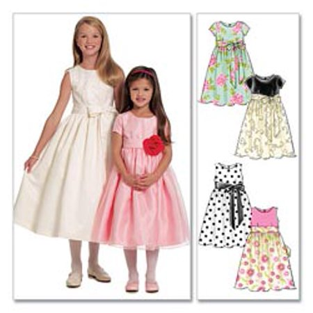 McCall's Pattern Children's and Girls' Lined Dresses and Sash, CCE (3, 4, 5, 6)