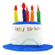 Novelty Place Plush Happy Birthday Cake Hat - Unisex Adult Size Fancy Dress Party Hats - Perfect as Party Favors, Costume Accessories - Cake & 5 Multicolor Candles