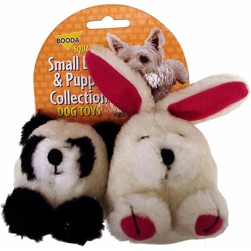 Petmate Doskocil Co. Inc. Rabbit and Panda Squatter Dog Toy, 2-Pack