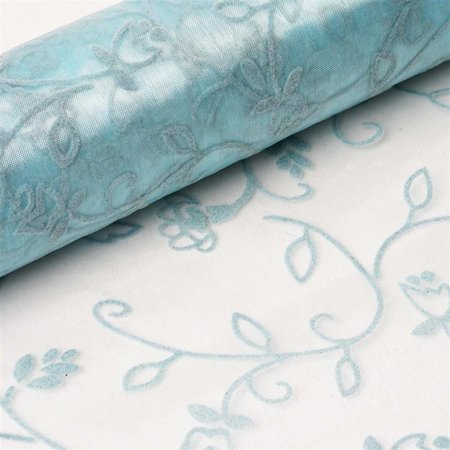 Velvet Embroidery on Organza Wedding Dress Fabric Bolt Blue 12