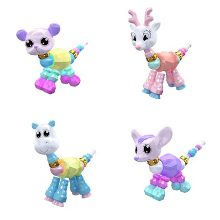 4Pcs Twisted Animal Pets Collectible Bracelet Set for Kids Birthday Party Pretend Play - Mouse, Giraffe, Puppy, Sika Deer ()