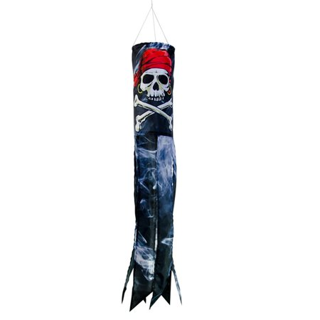 In the Breeze Smokin' Pirate 30-Inch Windsock - Printed Hanging Decoration - Outdoor Pirate Décor