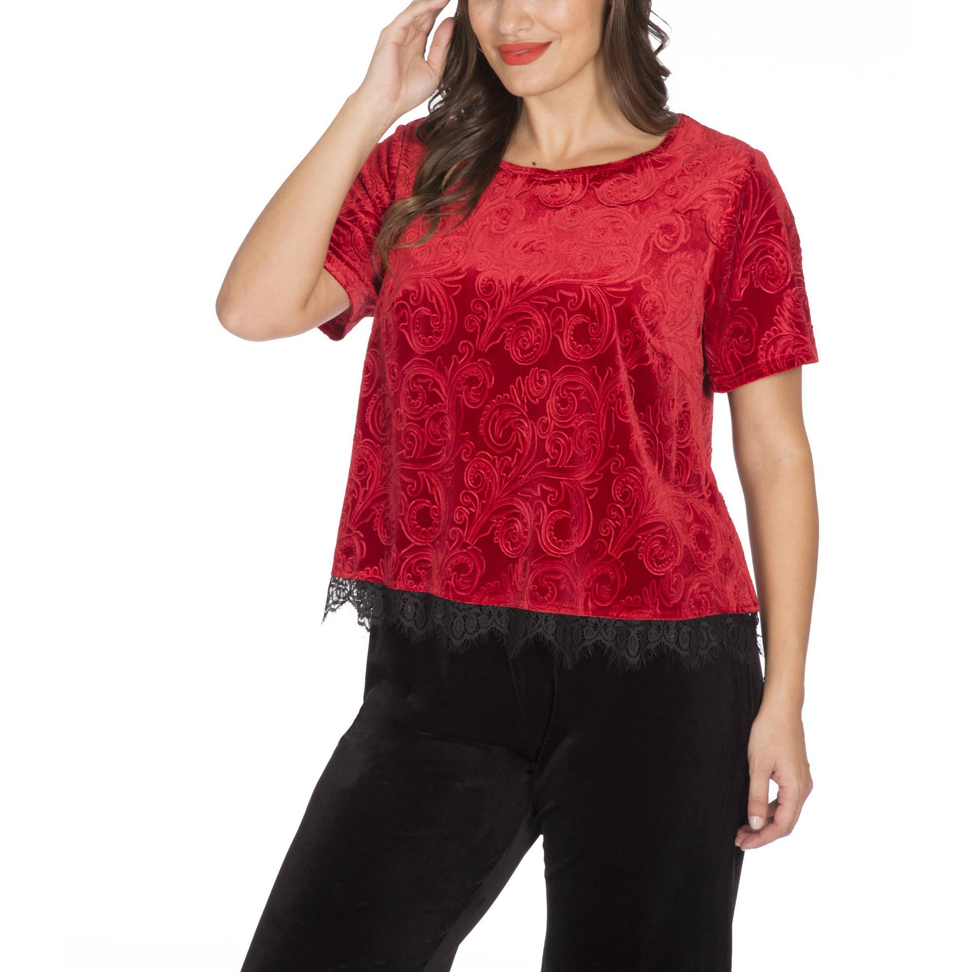 Plus Moda Women's Plus Burnout Short Sleeve Top