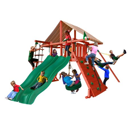 Gorilla Playsets Sun Climber Extreme Wooden Swing Set with Sunbrella® Brannon Redwood Canopy, 2 Slides, and Tire Swing