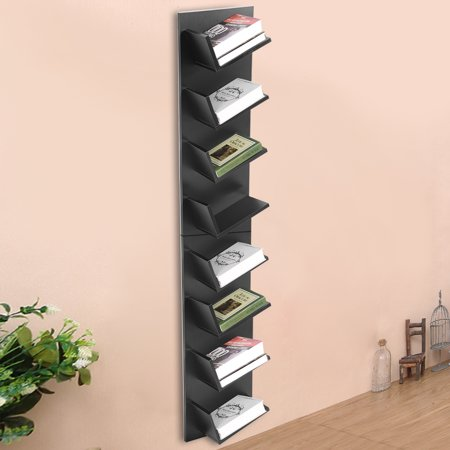 HURRISE Wall Mounted Shelf,8-Tier Wall Mounted Books CDs Display Storage Rack Shelf Organization Cabinet