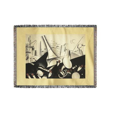 Le Tumulte Noir Vintage Poster (artist: Colin, Paul) France c. 1929 (60x80 Woven Chenille Yarn Blanket) ()