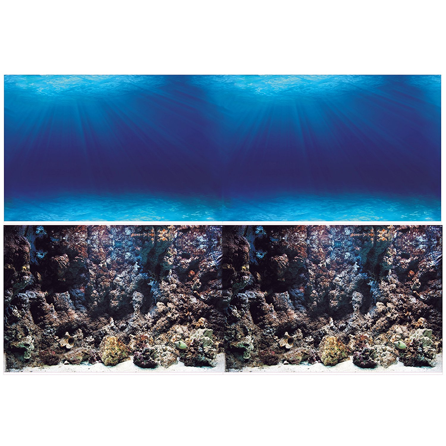 Aquarium Background Double sides (Deep Seabed Coral Rock) (Deep Seabed Coral Rock, 84WX24H), Double sided- One... by