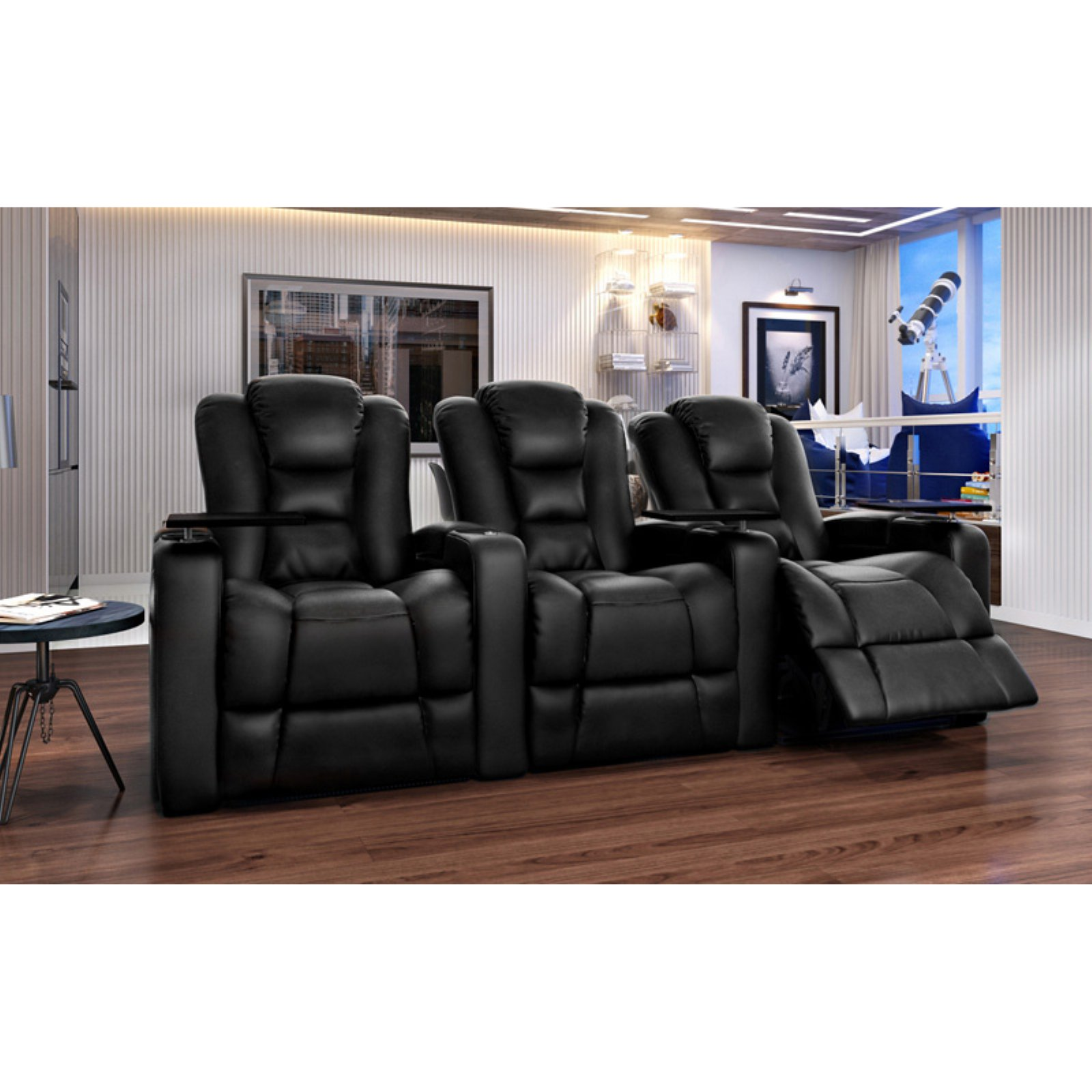 Octane Mega XL950 3 Seater Power Recline Bonded Leather Home Theater Seating