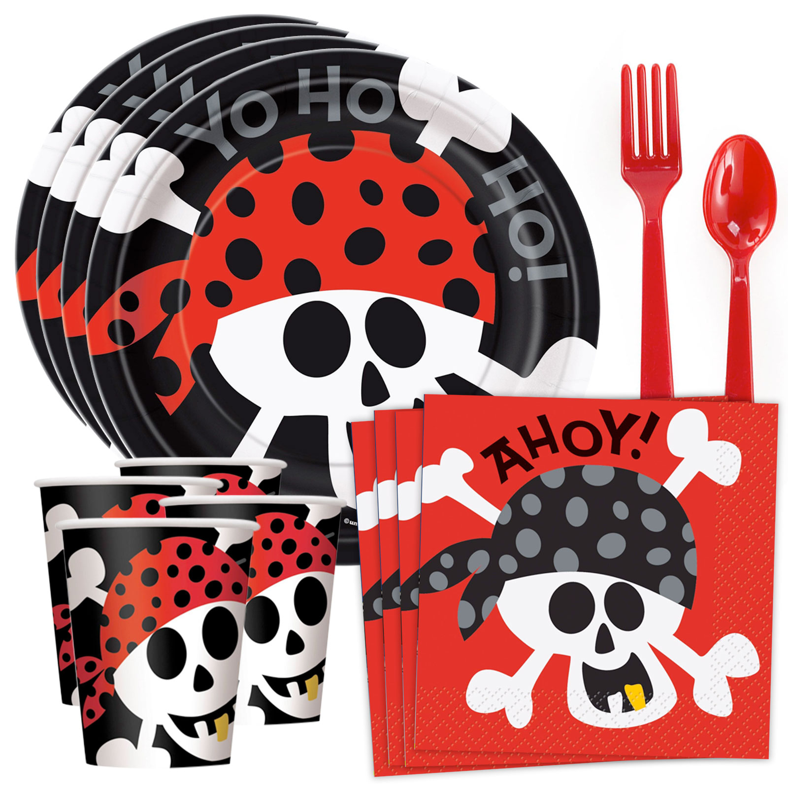 Pirate Birthday Standard Tableware Kit (Serves 8)