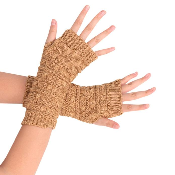 Unisex Fashion Knitted Arm Fingerless Winter Gloves Soft Warm Mitten