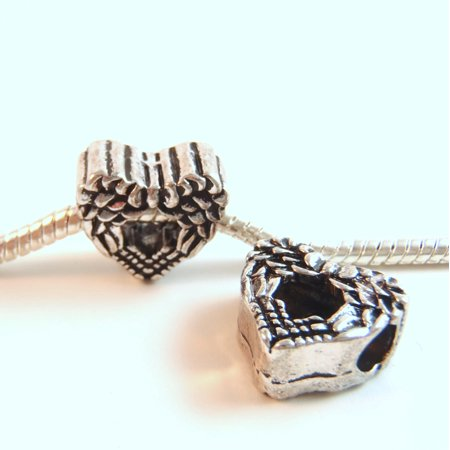- 3 Beads - Double Angel Wings Fairy Heart Silver European Bead Charm E0887