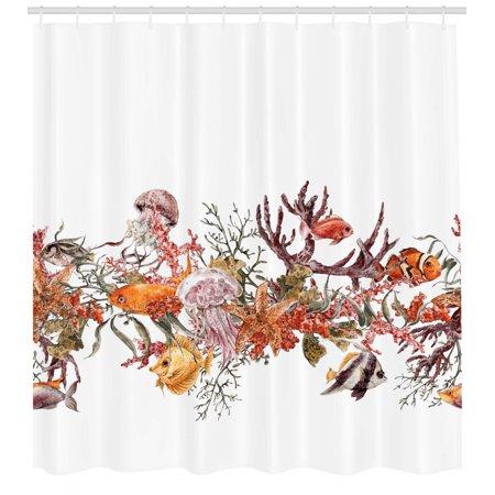 Sea Animals Shower Curtain, Fish Seaweed Starfish Coral Algae Jellyfish Sea Life Summertime Illustration, Fabric Bathroom Set with Hooks, Mustard Olive, by Ambesonne Yellow Sea Animal