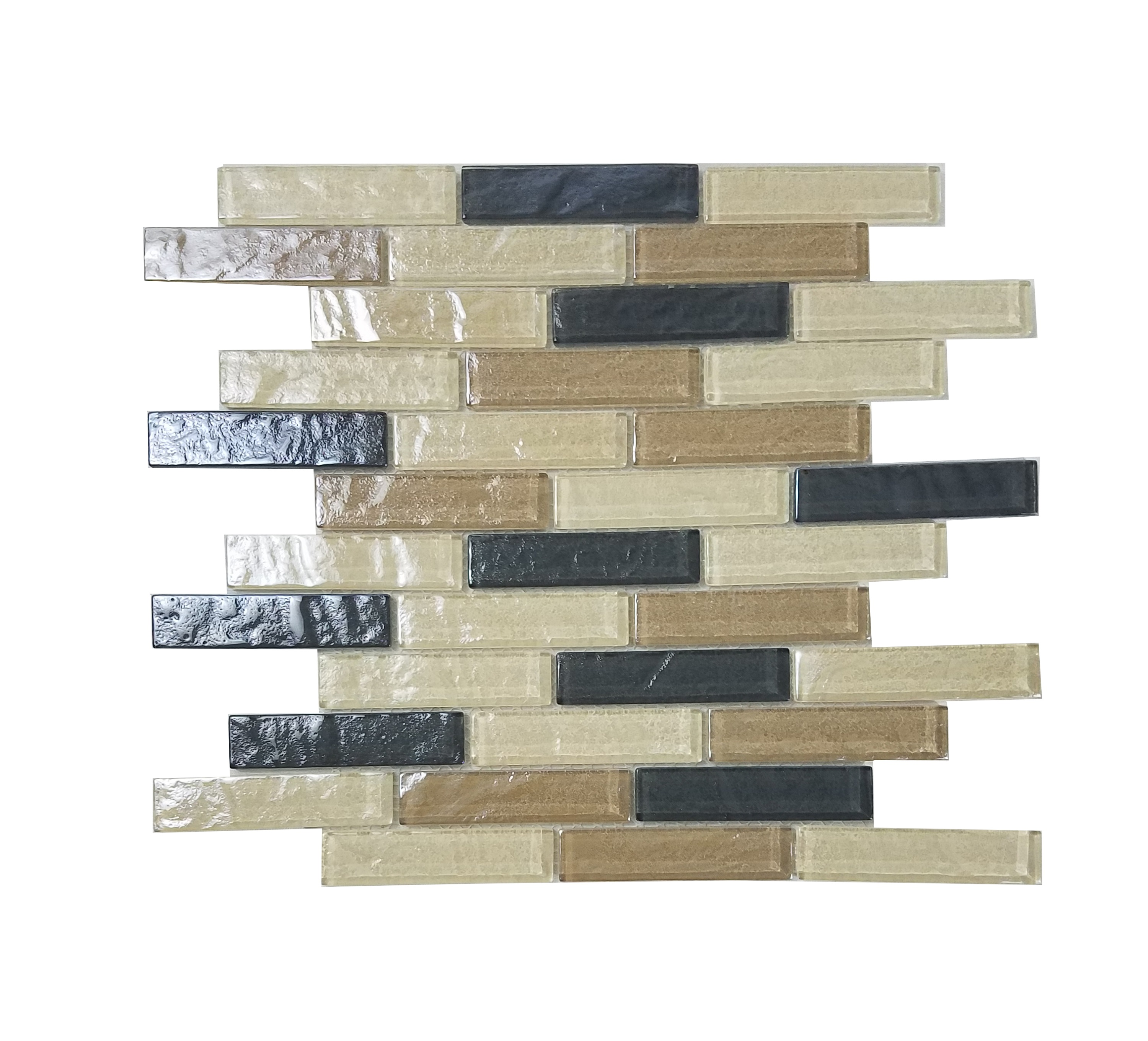 "Abolos- Geo 1"" x 4"" Glass Mosaic Tile in Brown Amazonia (4.9sqft / 5pc Box)"