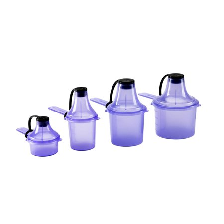 Scoopie 4 Count | Portable Scoop and Funnel Travel Container | Pre/Post Workout Pack, Purple | On The Go Powder Dispenser For Water Bottles and Shaker Bottles Purple 15cc/ml 30cc/ml 60cc/ml