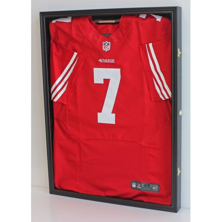 - Football/Baseball Jersey Display Case Frame Shadow box, with Lock, Black Finish (JC01-BL)