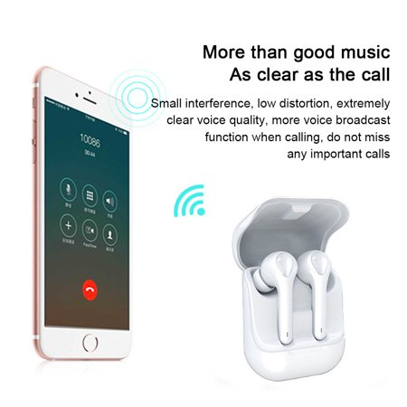 True Wireless Earbuds Bluetooth Earbuds Wireless Earbuds - Bluetooth 5.0 Mini in Ear Earbuds,Noise Cancelling Earbuds,Earbuds with Microphone for Hands-Free Calls WHITE - image 2 de 8