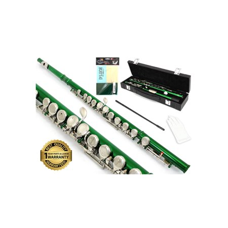 Flute Light Kit (D'Luca 400 Series Green 16 Closed Hole C Flute with Offset G and Split E Mechanism, PU Leather Case, Cleaning Kit and 1 Year Manufacturer)
